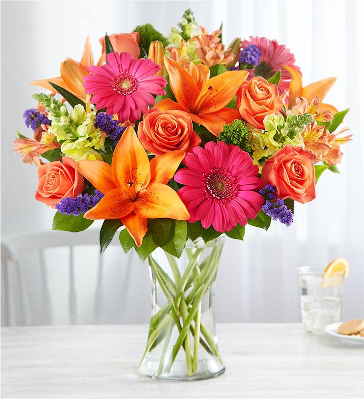 vibrant floral medley gerbera daisy bouquet