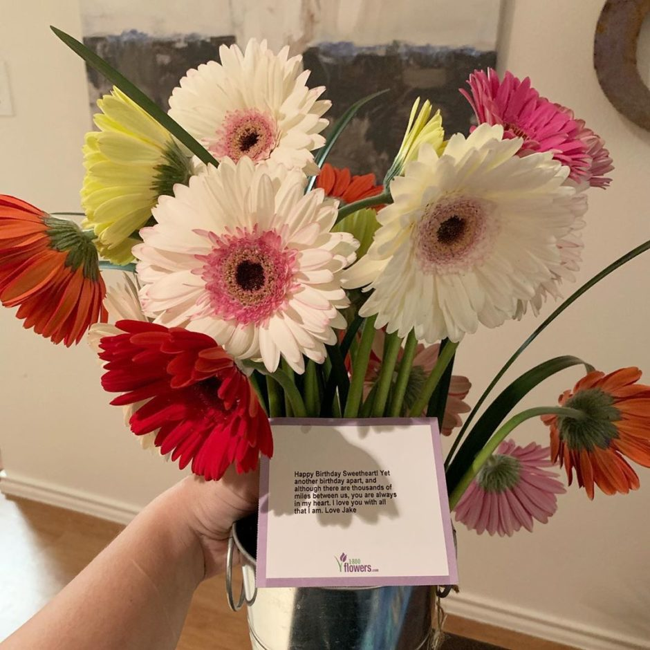 Birthday flower delivery from a husband in extended deployment.