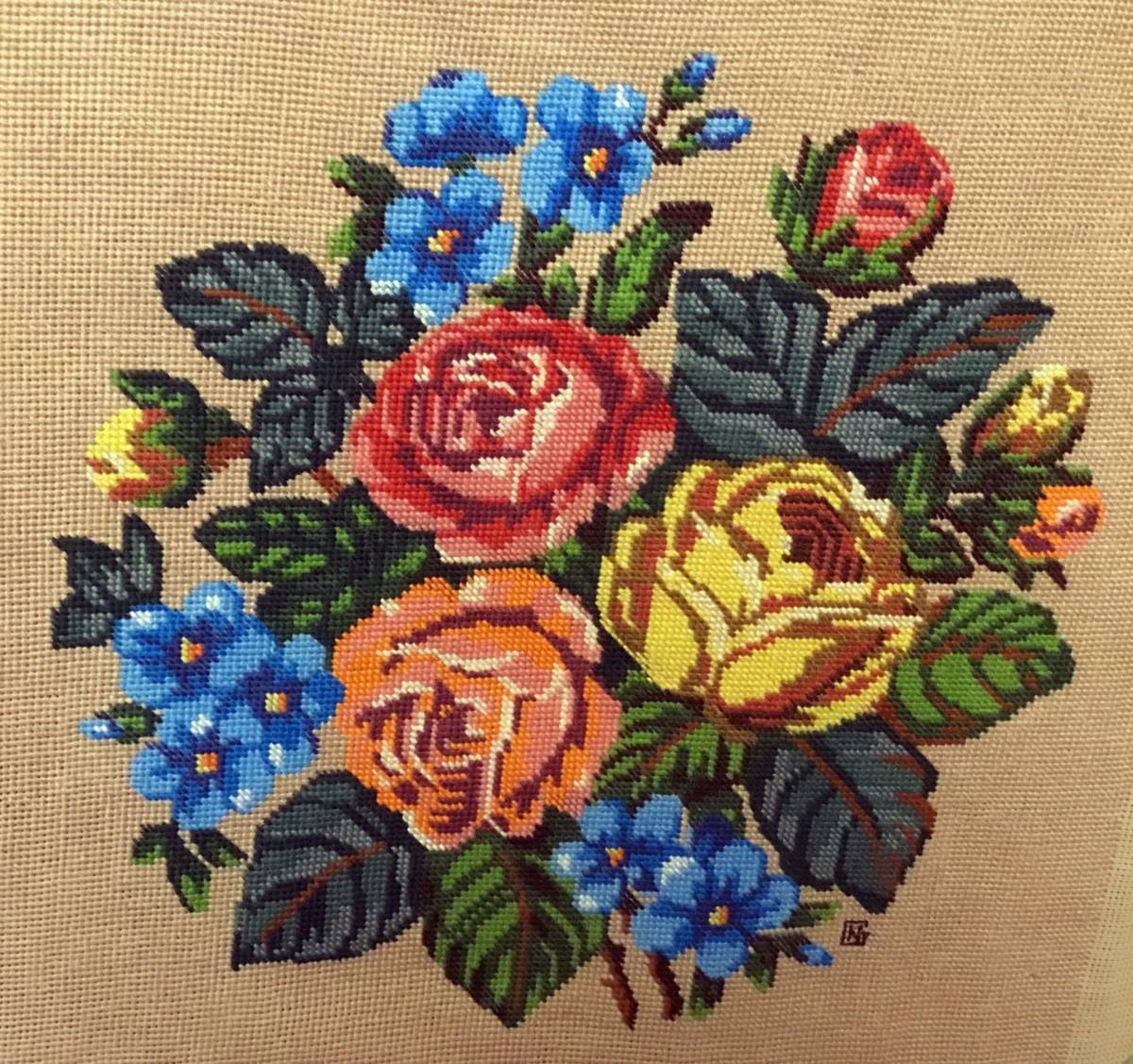 flowers needlepoint artwork by norma