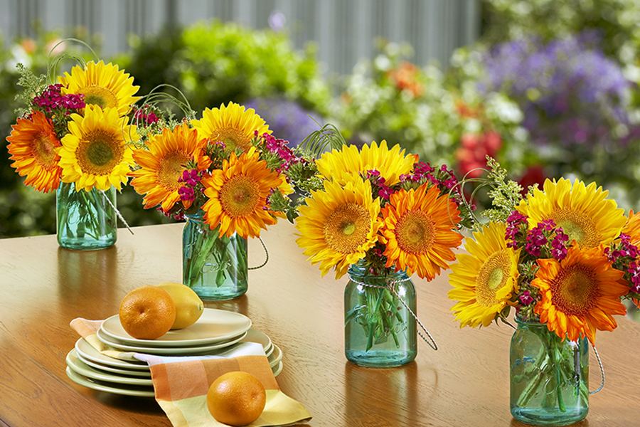 sunflower mason jars