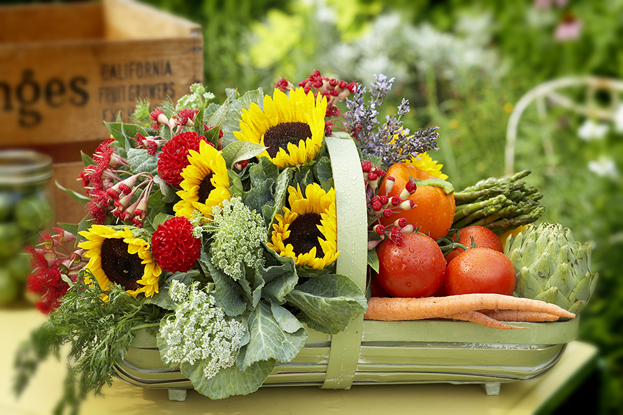 sunflowers and veggies
