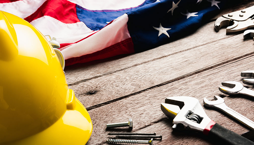 US flag and tools