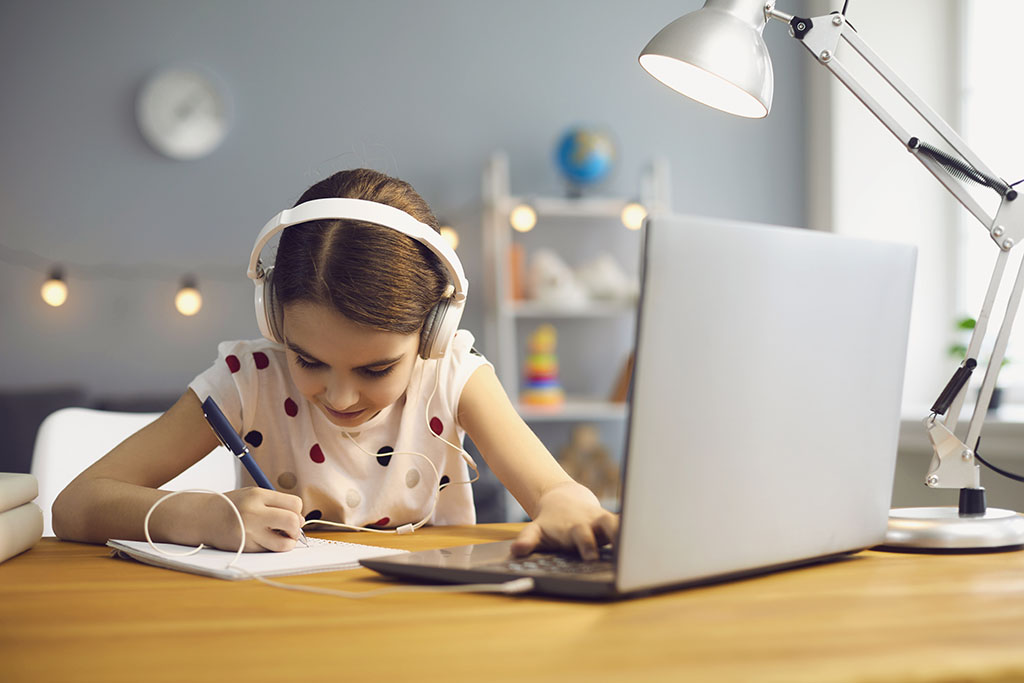 Girl Working at Desk