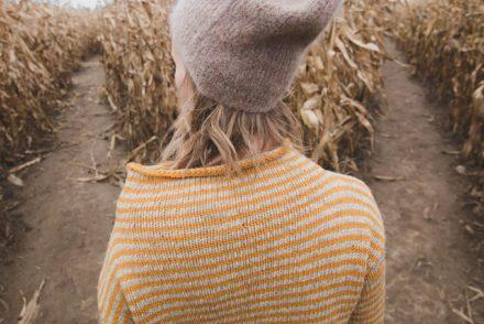 Woman in corn maze