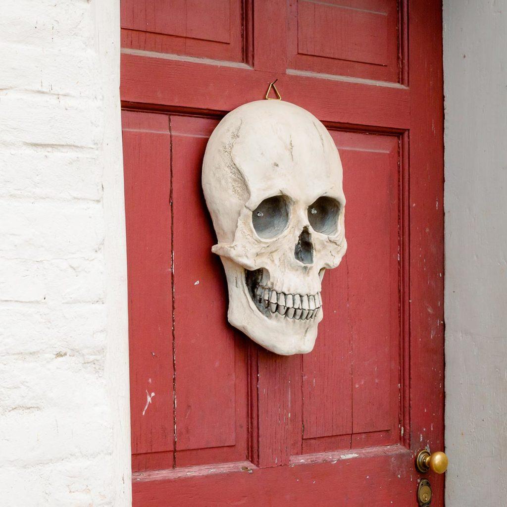 Skull decoration on door