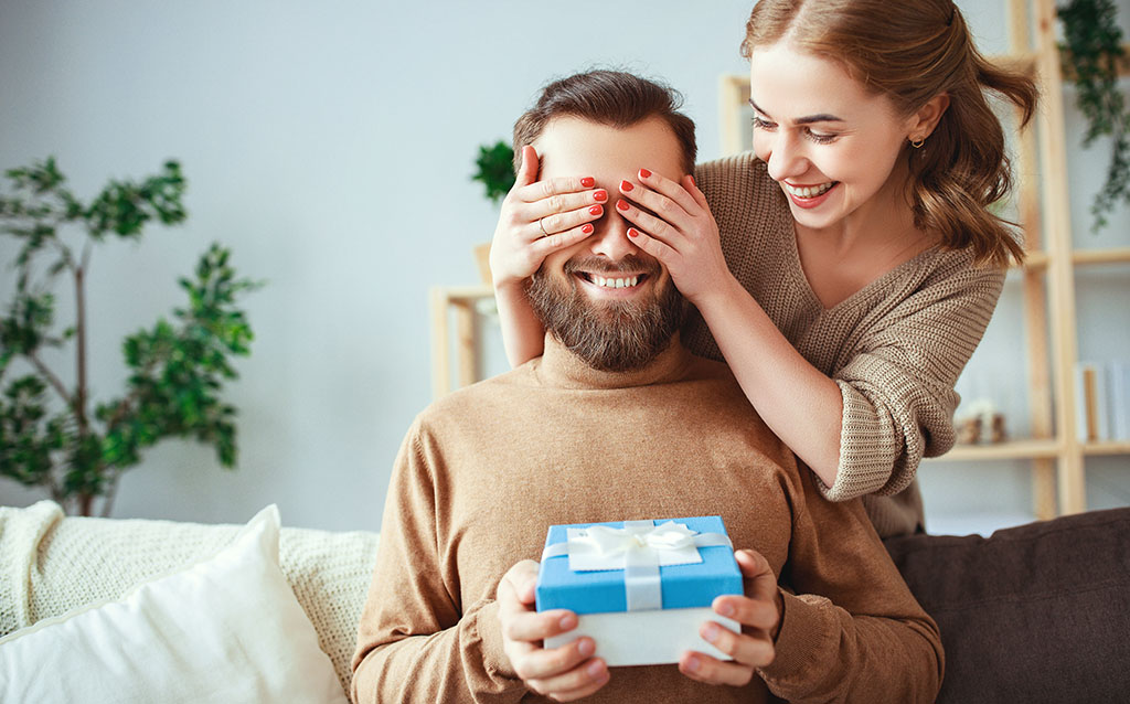 Woman and man with gift