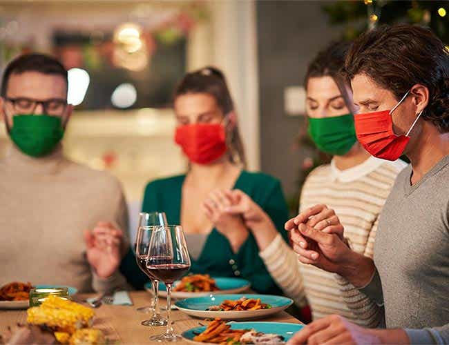 Holiday gathering with masks