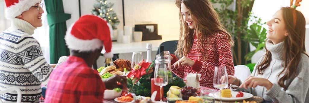 Eating Christmas dinner