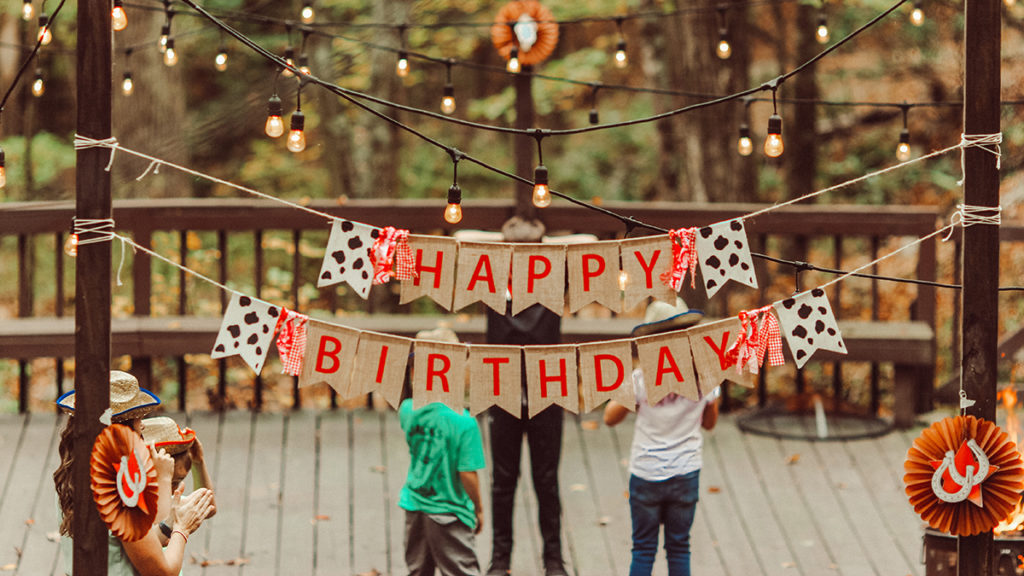 Happy Birthday sign hanging outside