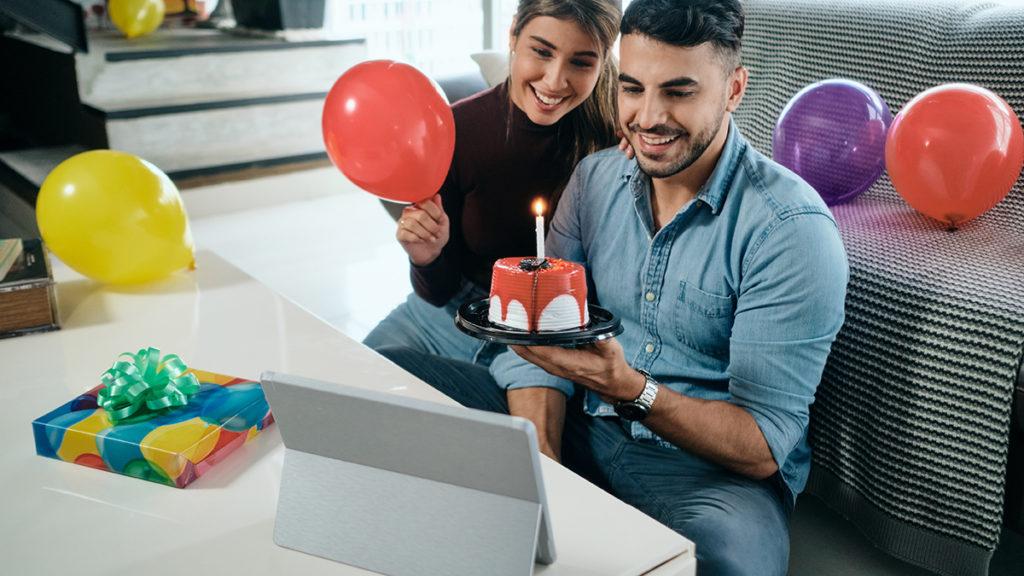 Celebrating birthday on video call