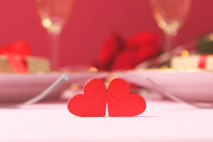 An image of two cut-out hearts