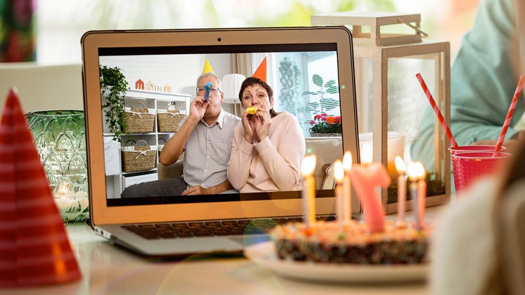 Celebrating birthday on laptop