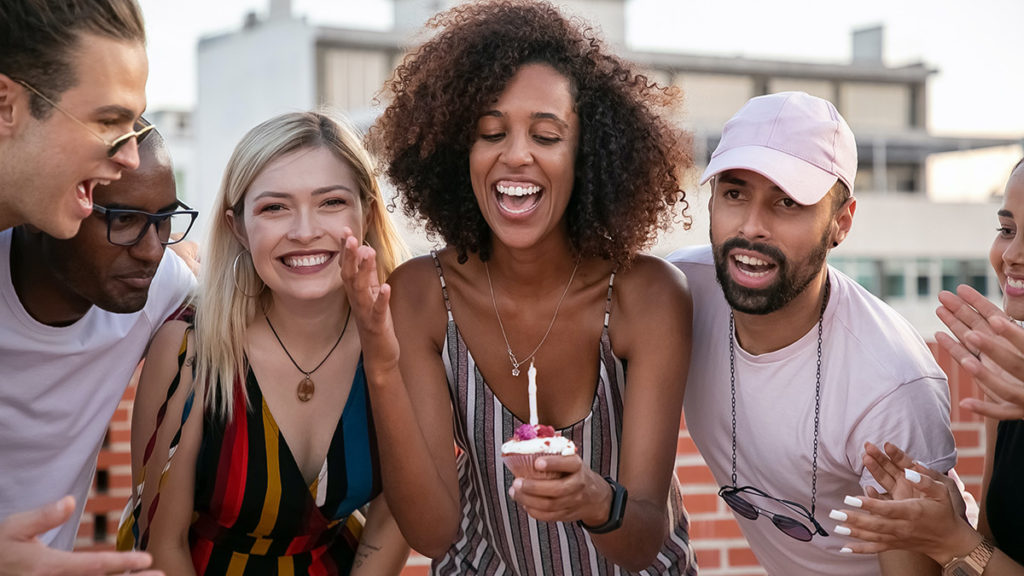 Friends celebrating a birthday