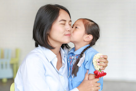 Girl kissing mother