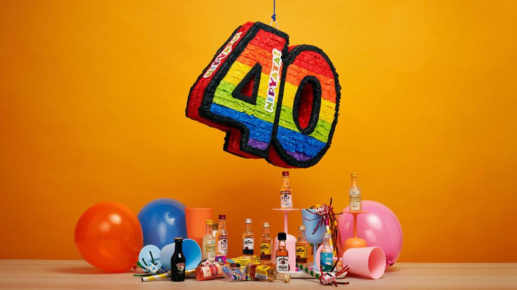 40th Birthday pinata and decorations