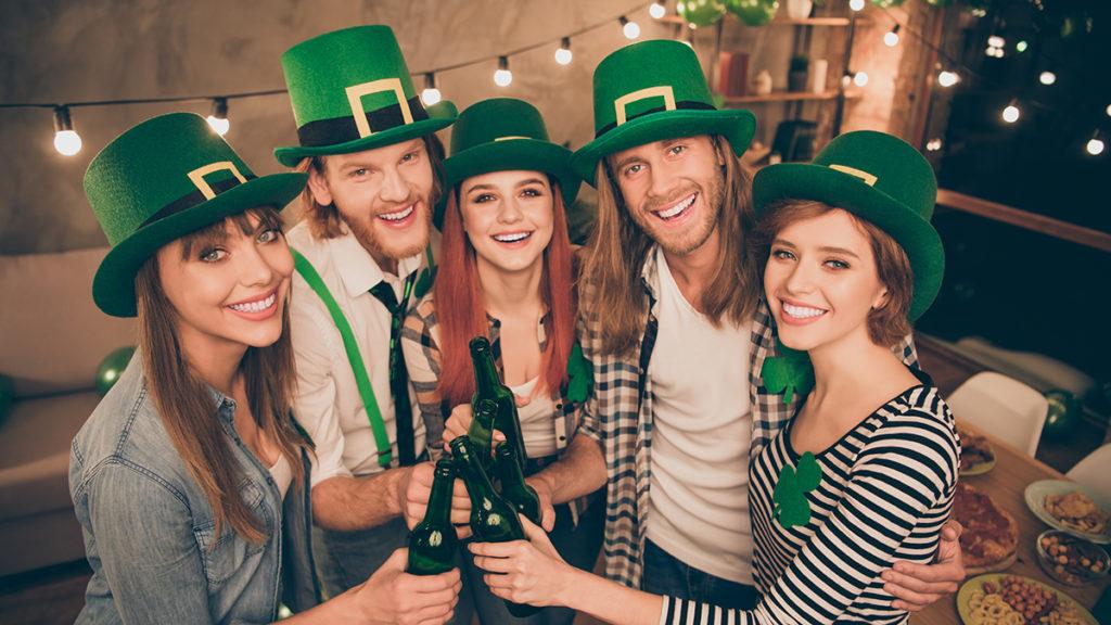 Five friends celebrating St. Patrick's Day