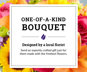 An ad for One-of-a-Kind bouquets designed by a local florist