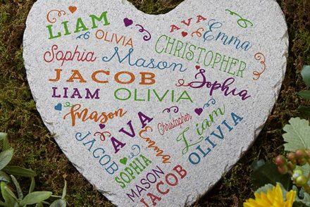 Heart-shaped garden stone