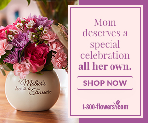 A graphic reminding visitors to shop for moms for Mother's Day.