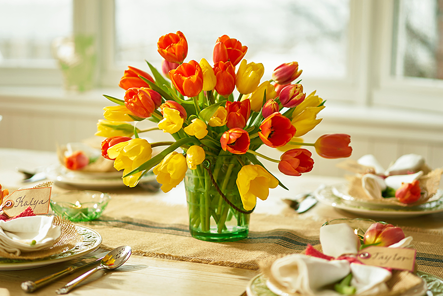 Colorful Spring Tulips on Table in a Vase