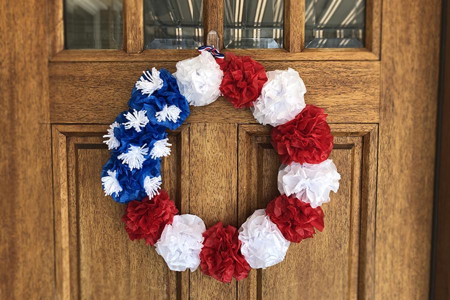 Hanging Memorial Day wreath