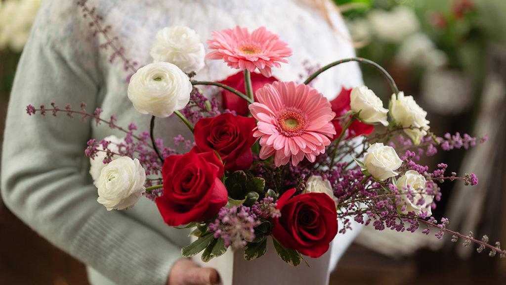 Closeup of a flower arrangement