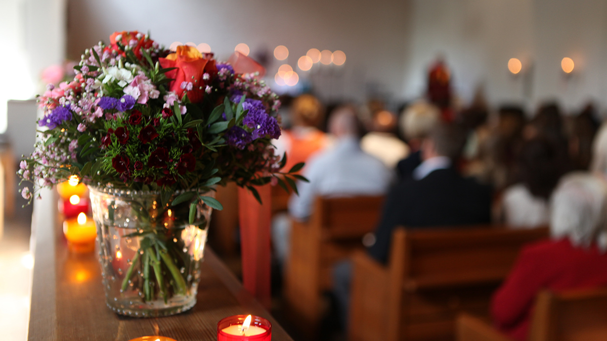 Flowers at a funeral service