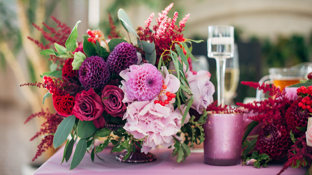 Bouquet of asters, roses, and dahlias