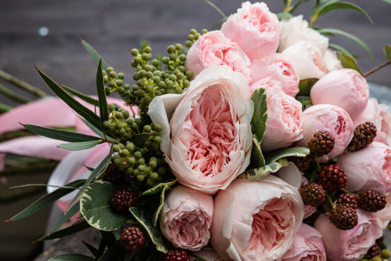 Wedding bouquet with peonies and roses