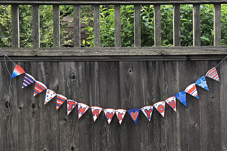Red, white, and blue flags