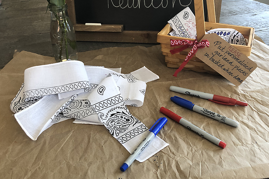 Bandana strips and markers