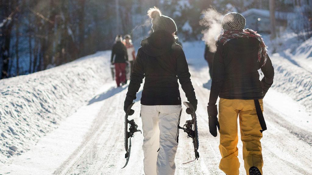Two women on ski trail