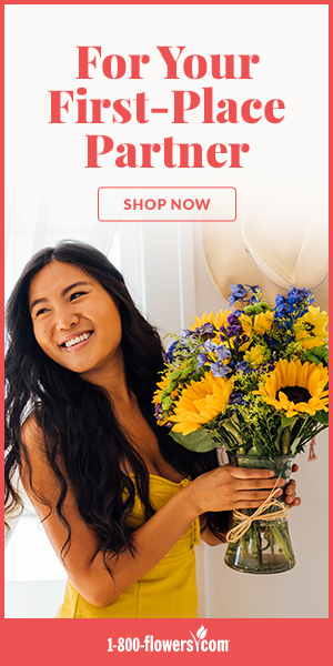 """An ad from 1-800-Flowers.com featuring a sunflower bouquet with the words """"For Your First-Place Partner."""""""