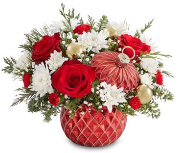 Photo of a red flower vase with flowers before the vase is reused to hold potpourrithat can hold potpourri and other items