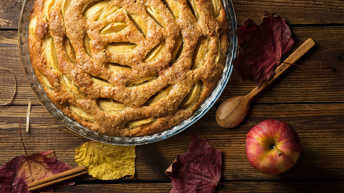 People who love fall ofter enjoy baking apple pies, like the one pictured here.