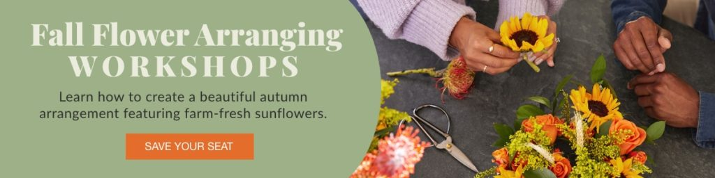 An ad for a fall flower-arranging workshop at Alice's Table