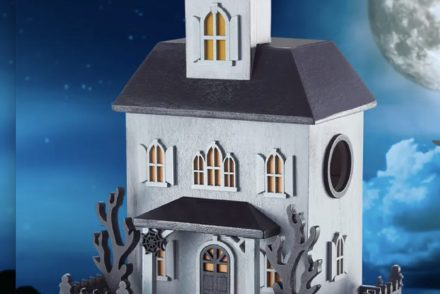 Haunted bird house for Halloween decorating,