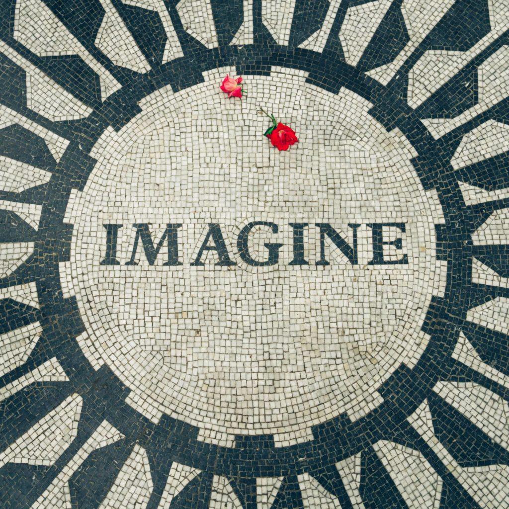 Photo of the Imagine memorial for John Lennon in New York City's Central Park, Strawberry Fields. Lennon was born in October.