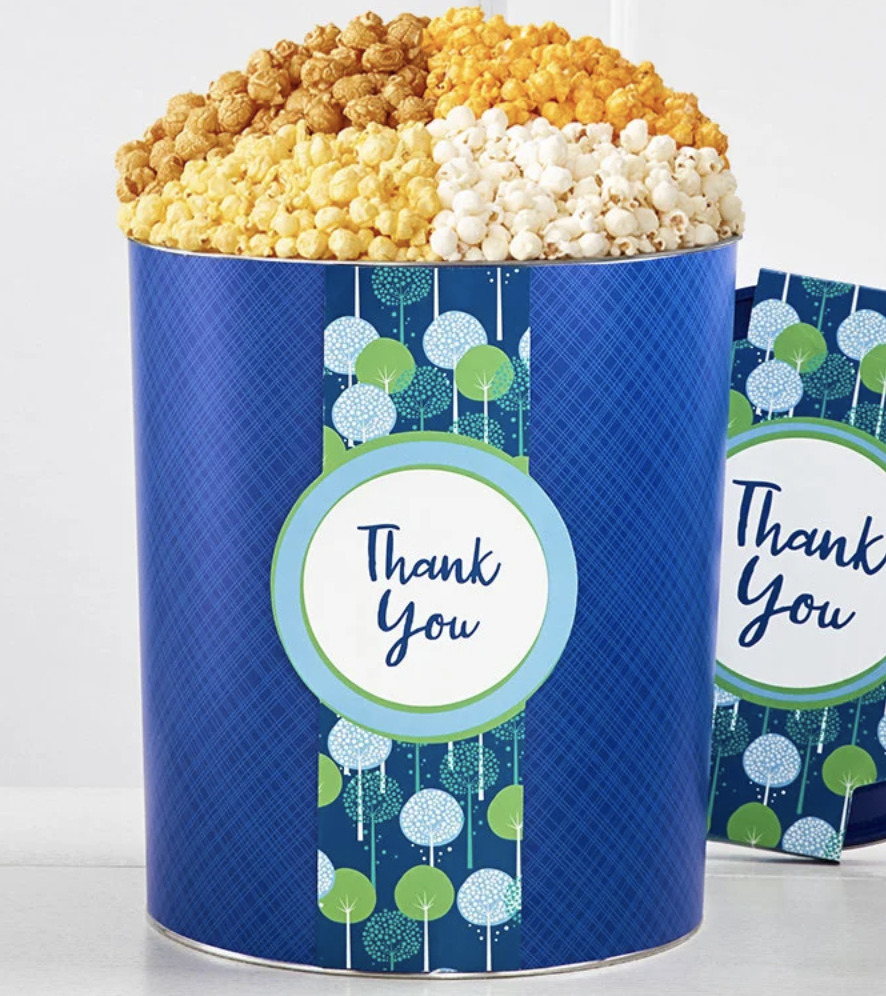 Popcorn thank you tin